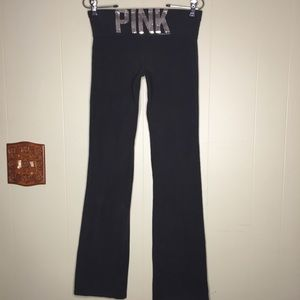 Pink Victoria Secret's Yoga Black Silver Sequin SM